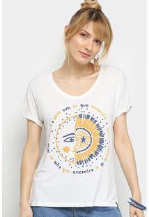 Camiseta Cantão Lua & Sol Feminina - Feminino-Off White