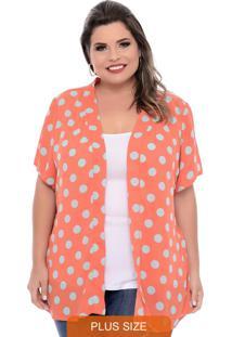 Kimono Poá Plus Size Coral