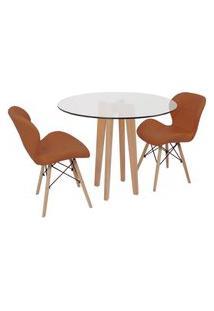 Conjunto Mesa De Jantar Em Vidro 90Cm Com Base Vértice + 2 Cadeiras Slim - Marrom