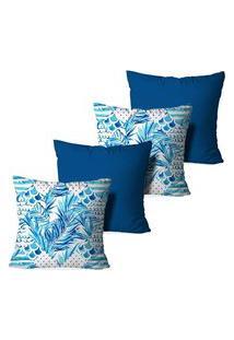 Kit 4 Capas Para Almofadas Decorativas Love Decor Tropical Multicolorido Azul