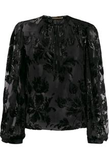 Saint Laurent Blusa Com Bordado Floral - Preto