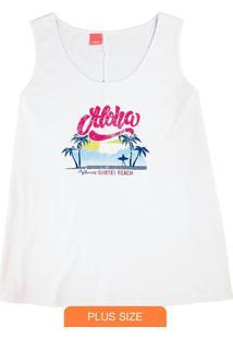Blusa Branca Aloha Em Meia Malha