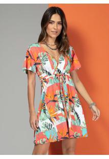 Vestido Tropical Laranja Com Transpasse