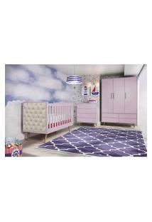 Dormitório Lorena Guarda Roupa 3 Portas Comoda 4 Gavetas Berço Lorena C/ Capitone Carolina Baby Rosa