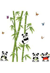 Adesivo De Parede Bambu Panda- Verde & Preto- 90X60Cevolux