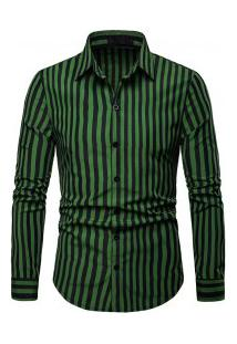 Camisa Masculina Listrada Manga Longa - Verde