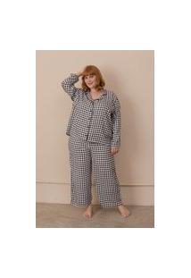 Pijama Clássico Vichy Plus Size Preto-50/52