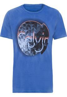 Camiseta Masculina Estampa E Relevo - Azul