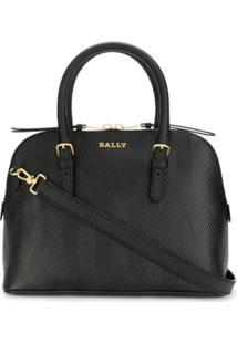 Bally Bolsa Tote Texturizada Com Logo - Preto