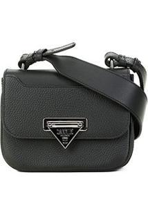 Bolsa Couro Carmim Mini Bag Silvana Transversal Feminina - Feminino-Preto