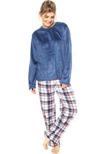 Pijama Any Any Soft Family Azul-Marinho/Branco