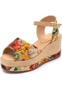 Sandália Anabela Aberta Mr Shoes Salto Médio Confortavel Floral