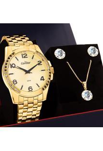 Kit Relógio Condor Feminino Com Colar E Brincos Co2036Kuu/K4D
