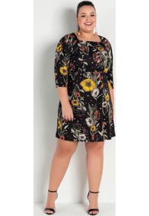 Vestido Floral Preto Decote Quadrado Plus Size