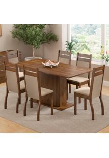 Conjunto Sala De Jantar Versalhes Madesa Mesa Tampo De Madeira Com 6 Cadeiras Marrom - Tricae