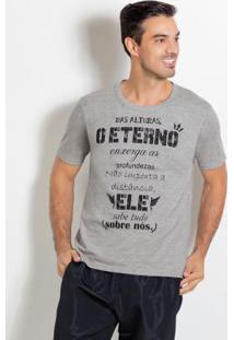 Camiseta Cinza Com Estampa Frontal E Decote V