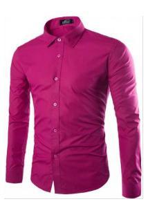 Camisa Social Masculina Slim Manga Longa - Vermelho