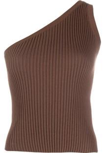 Materiel Blusa Ombro Único De Tricô - Marrom