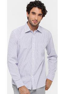 Camisa Blue Bay Listras Fio Tinto Masculina - Masculino-Roxo+Branco