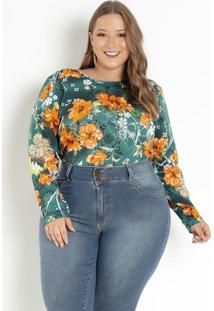 Blusa Floral Verde Evasê Plus Size