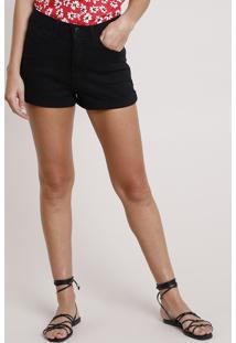 Short De Sarja Feminino Hot Pant Cintura Super Alta Preto