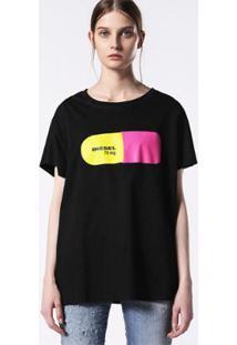 Camiseta Diesel T-Hanna-Ba Maglietta Feminina - Feminino-Preto