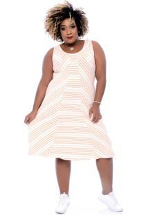 Vestido Básico Listras Plus Size