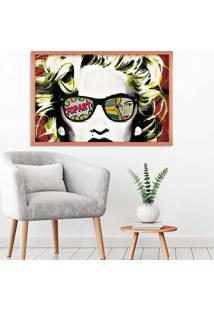 Quadro Love Decor Com Moldura Madonna Em Pop Art Rose Metalizado Grande
