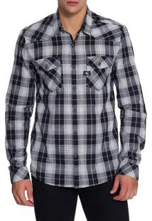 Camisa Ml Ckj Masc Xadrez Etiq Re Issue - Preto - P