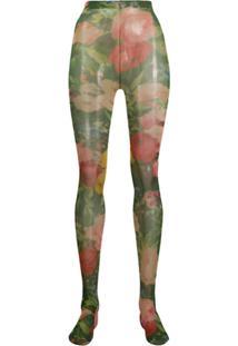 Richard Quinn Meia Calça Com Estampa Floral - Verde