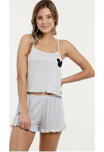 Pijama Feminino Canelado Estampa Mickey Alças Finas Disney