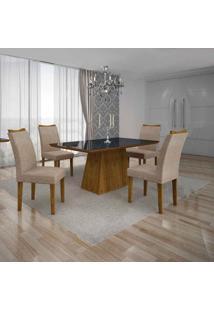Conjunto De Mesa Com 4 Cadeiras Pampulha Iv Canela E Bege