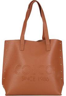 Bolsa Colcci Shopper Logo Tachas Feminina - Feminino-Caramelo