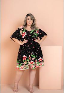 Vestido Rayon Poplin Flores Black Plus Size