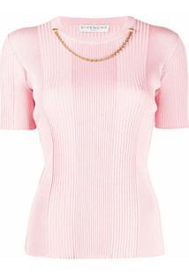 Givenchy Blusa De Tricô Canelado Com Detalhe De Corrente - Rosa