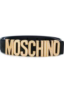 Moschino Cinto Com Aplicação De Logo - Preto