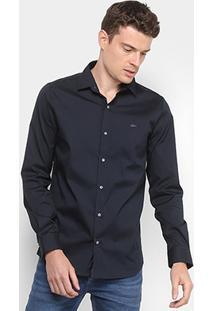 Camisa Lacoste Slim Fit Com Logo Masculina - Masculino-Marinho