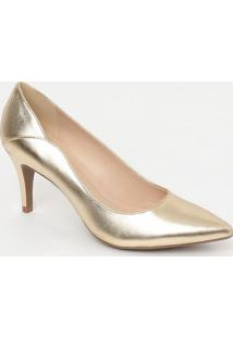 Scarpin Em Couro Metalizado- Dourado- Salto: 7,5Cmloucos E Santos