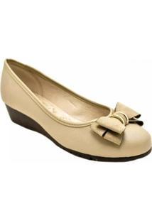 Sapato Moleca Anabela Baixo Napa Feminino - Feminino-Nude