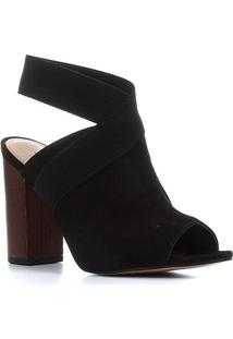 Sandália Couro Shoestock Nobuck Elástico Salto Bloco Alto Feminina - Feminino-Preto