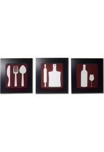 Kit 3 Quadros Decorativos Para Restaurante E Cozinha Fabricado Em Mdf Com Relevo 33X30Cm