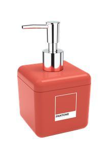 Porta-Sabonete Líquido Cube 8,5 X 8,5 X 15 Cm 330 Ml Coral Pantone Coza