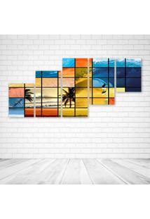 Quadro Decorativo - Surf Mosaico - Composto De 5 Quadros - Multicolorido - Dafiti