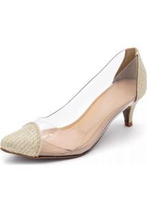 Sapato Scarpin Salto Baixo Em Glitter Dourado Com Transparência - Kanui