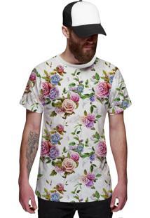 Camiseta Di Nuevo Floral Rosa E Violeta Off White Branca