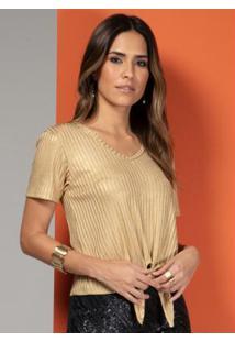 Blusa Canelada Dourada Com Amarração Na Barra