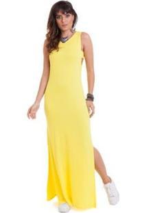 Vestido Manola Longo Regata - Feminino-Amarelo