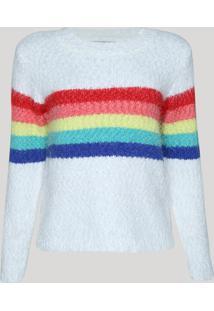 Suéter De Tricô Feminino Pride Arco-Íris Branco