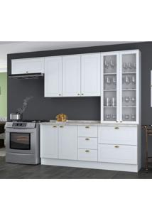 Cozinha Compacta 5 Peças 2 Portas De Vidro Emily Siena Móveis Branco