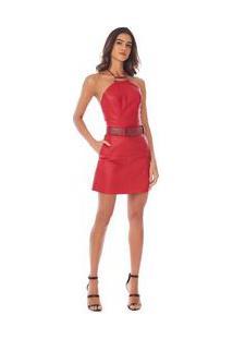 Body Morena Rosa Decote Redondo Frente Unica Com Metal Vermelho - P